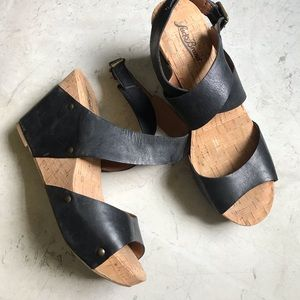 Lucky Brand Black Leather Moran Wedges Size 9.5
